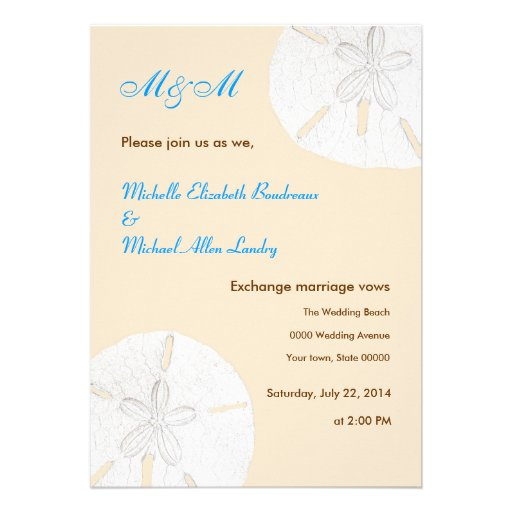 "Casual Wedding Invitations: Sand Dollar Casual Wedding Invitations 5"" X 7"" Invitation"