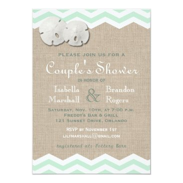 Beach Themed Sand Dollar & Chevron Couple's Shower Invite