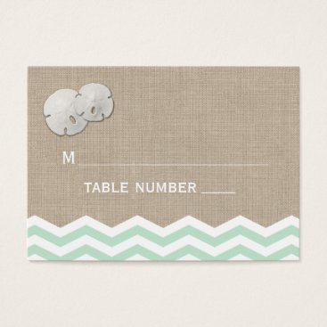 Beach Themed Sand Dollar & Chevron Place Card