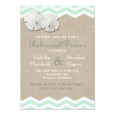 Beach Themed Sand Dollar & Chevron Rehearsal Dinner Card