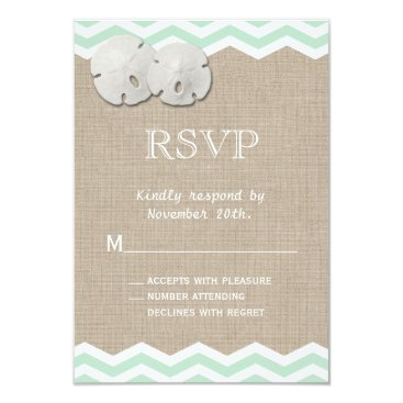 Beach Themed Sand Dollar & Chevron RSVP Card