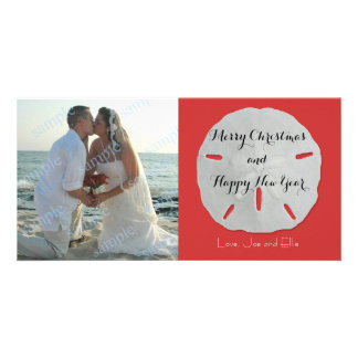 Sand Dollar Christmas Photo Card Red and White