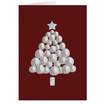 Beach Themed Sand Dollar Christmas Tree (red) Card
