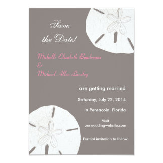 """Sand Dollar Gray Pink Save the Date 5"""" X 7"""" Invitation Card"""