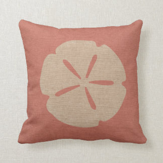 Sand Dollar in Coral PInk Throw Pillow