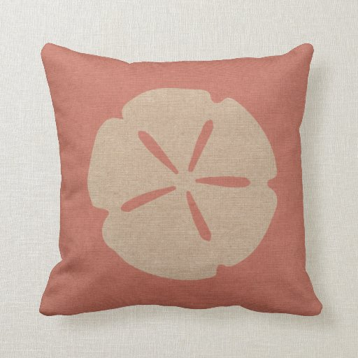 Coral Pink Throw Pillows : Sand Dollar in Coral PInk Throw Pillow Zazzle