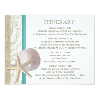 Sand Dollar Lace and Pearl 4.25x5.5 Paper Invitation Card