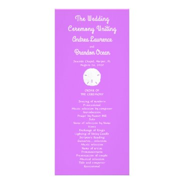 Beach Themed Sand Dollar Lilac Purple Tall Wedding Program