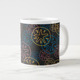 Sand Dollar Lines Red Yellow Blue Giant Coffee Mug