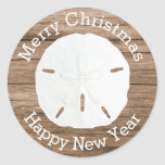 Sand Dollar Merry Christmas Envelope Seal Classic Round Sticker