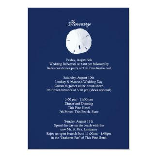Sand Dollar Navy Blue Wedding Intinerary Card