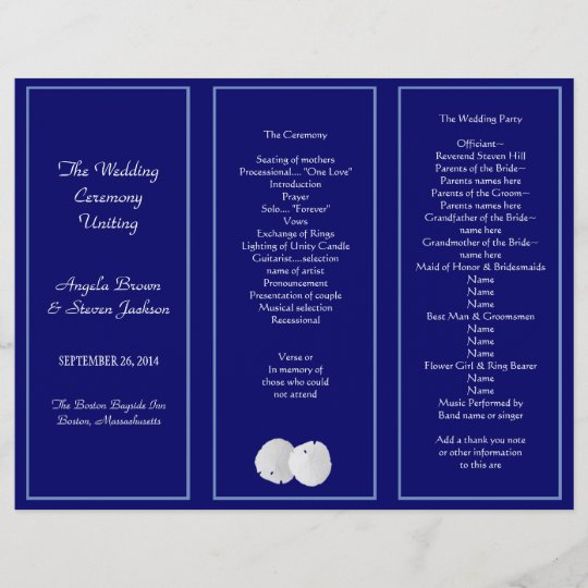 trifold wedding program template