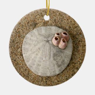 Sand Dollar on Beach Ceramic Ornament