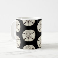 Sand Dollar on Black Coffee Mug