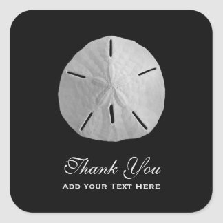 Sand Dollar on Black Thank You Square Sticker