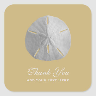 Sand Dollar on Gold Thank You Square Sticker