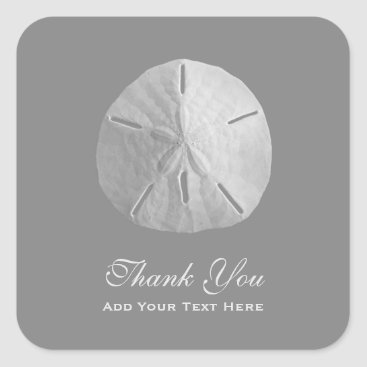Beach Themed Sand Dollar on Gray Thank You Square Sticker