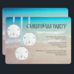 """Sand Dollar Ornaments Christmas Party Beach Invitation<br><div class=""""desc"""">Beach themed Christmas party invitations with sand dollars.  Tropical blue water and beach sand make a pretty background image for custom text.  Three big sand dollar ornaments hang opposite the text and add to the tropical theme of the invitation.</div>"""