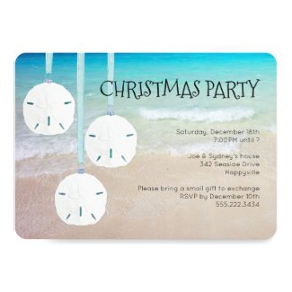 Sand Dollar Ornaments Christmas Party Beach Invitation