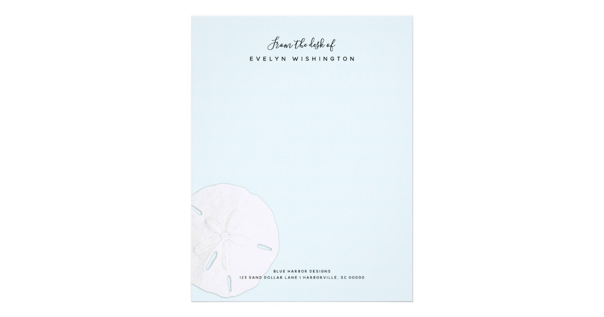 sand dollar pale blue business letterhead paper zazzle com