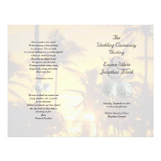 Sand Dollar Palm Trees Christian Ceremony Program Flyer