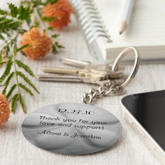 Sand Dollar Personalized Key Ring Wedding Favor Keychain