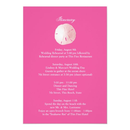 Sand Dollar Pink Wedding Intinerary Invitation