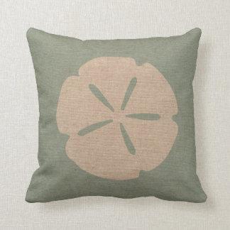 Sand Dollar Sea Shell Seafoam Green Throw Pillow