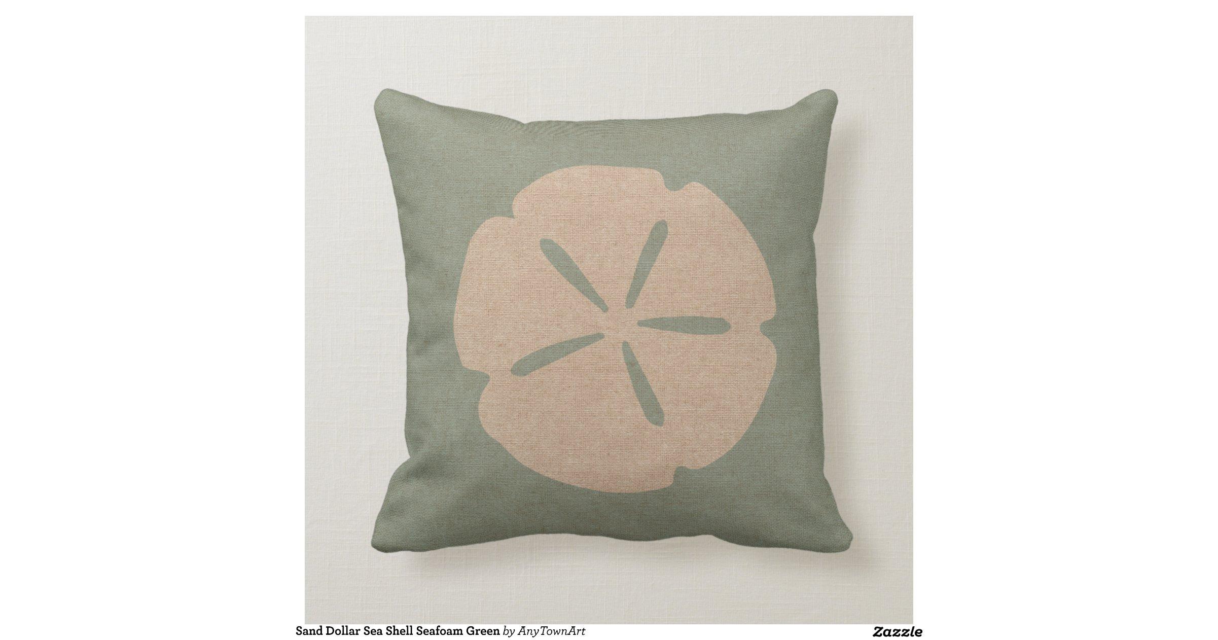 Throw Pillow Seafoam Green : Sand Dollar Sea Shell Seafoam Green Throw Pillows Zazzle