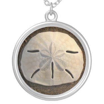Beach Themed Sand Dollar Seashell Beach Silver Necklace Pendant