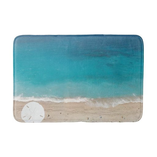 Sand Dollar Seashore Blue Ocean Bath Mat Zazzle