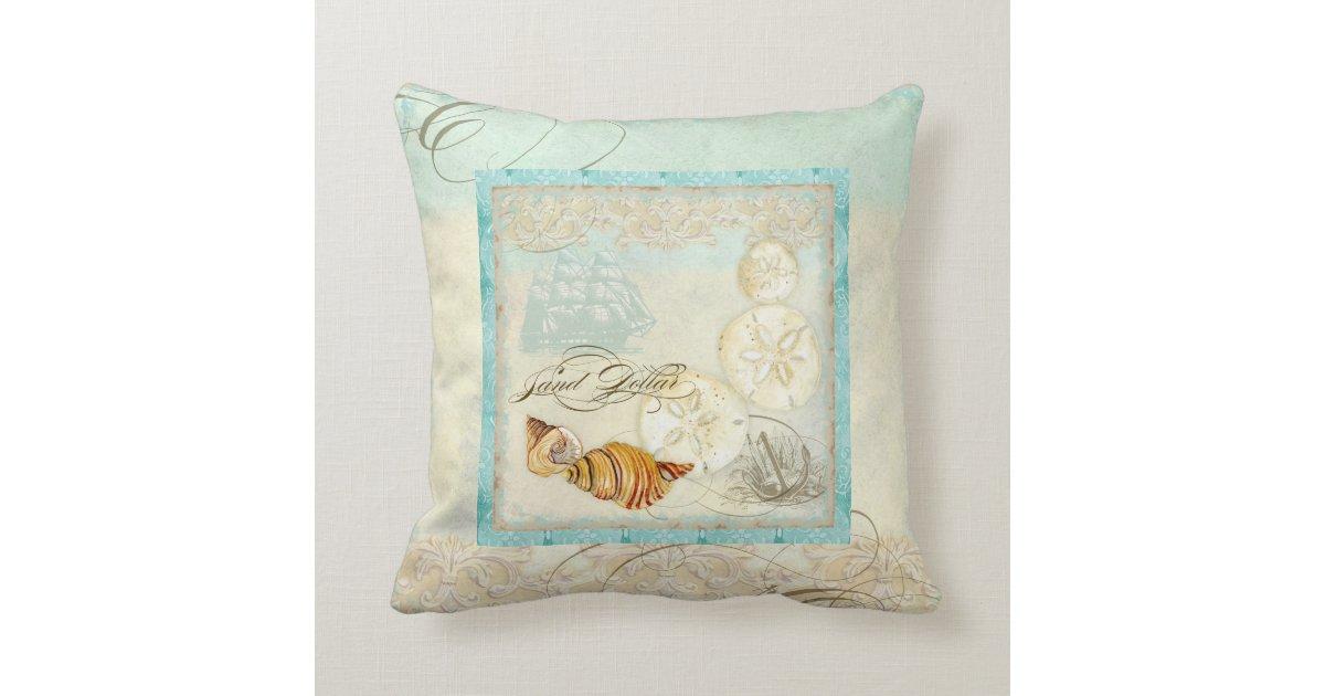 Coastal Home Throw Pillows : Sand Dollar Shell Coastal Beach Home Decor Pillow Zazzle