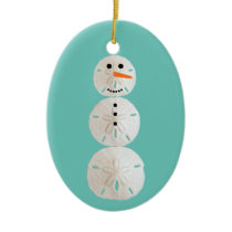 Sand Dollar Snowman Ceramic Ornament