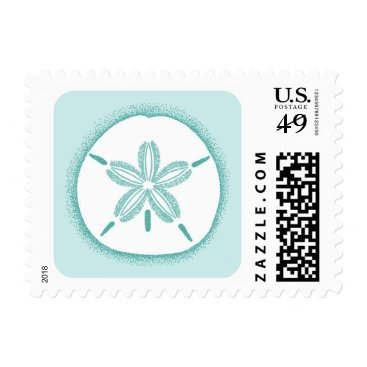 Beach Themed Sand dollar stamp - pale turquoise aqua blue