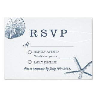Sand Dollar & Starfish Beach Wedding RSVP Card