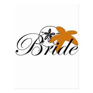 Sand Dollar Starfish Bride Postcard