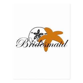 Sand Dollar Starfish Bridesmaid Postcard