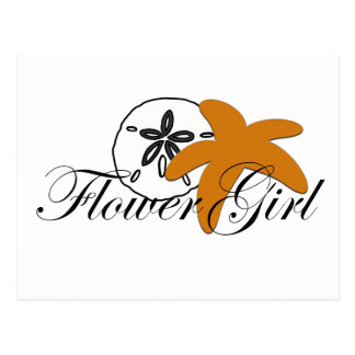 Sand Dollar Starfish Flower Girl Postcard