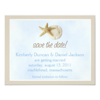Sand Dollar & Starfish Save the Date 4.25x5.5 Paper Invitation Card