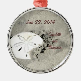 Sand Dollar Wedding Date Ornament