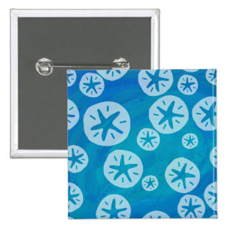 Sand Dollar White and Blue Pattern Pinback Button