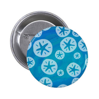 Sand Dollar White and Blue Pattern Buttons
