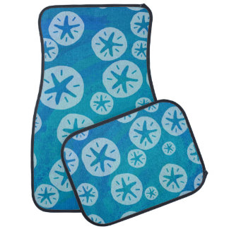 Sand Dollar White and Blue Pattern Car Floor Mat