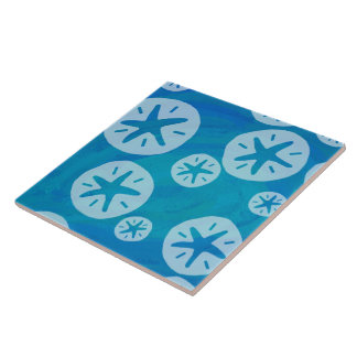 Sand Dollar White and Blue Pattern Ceramic Tile