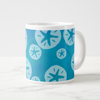 Sand Dollar White and Blue Pattern Giant Coffee Mug