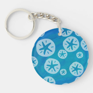 Sand Dollar White and Blue Pattern Keychain