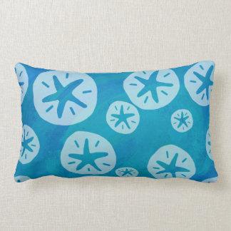 Sand Dollar White and Blue Pattern Lumbar Pillow