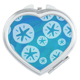 Sand Dollar White and Blue Pattern Makeup Mirror