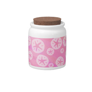 Sand Dollar White and pink Candy Jar