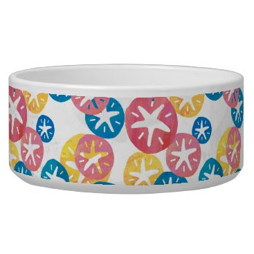 Beach Themed Sand Dollar Yellow Red Blue Pattern Bowl